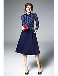 cheap -Women's Sheath Dress - Solid High Waist
