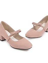 cheap -Women's Shoes Customized Materials Spring Fall Comfort Heels Low Heel Round Toe Closed Toe Buckle for Office & Career Dress Pink