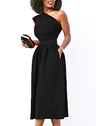 cheap -Women's Street chic Sheath Swing Dress - Solid Colored Red, Ruched High Waist One Shoulder