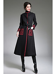 cheap -Women's Vintage Coat - Solid Color, Print Embroidered Stand