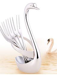 Недорогие -лебедь из нержавеющей стали фрукты еда вилка ложка нож посуда базовый держатель свадебное украшение