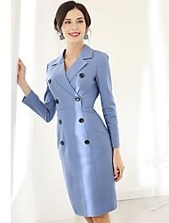 cheap -Baoyan Women's Slim Sheath Dress - Solid Colored V Neck