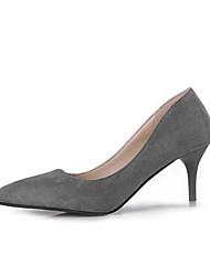 preiswerte -Schuhe Samt Frühling Sommer Komfort Pumps High Heels Niedriger Heel für Kleid Büro & Karriere Schwarz Grau Rot