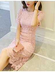 cheap -Women's Daily Sexy Lace Dress,Solid Round Neck Above Knee Half Sleeve Polyester Summer Mid Rise Inelastic Thin