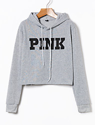 cheap -Women's Long Sleeves Cotton Hoodie - Letter