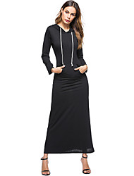 cheap -Women's Boho Bodycon Tunic Dress - Solid Colored, Pleated Maxi