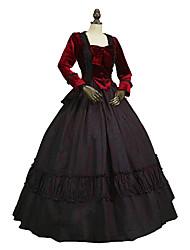 abordables -Victoriano Rococó Disfraz Adulto Accesorios Negro/Rojo Cosecha Cosplay Felpa Puro algodón Manga Larga Puff/Globo