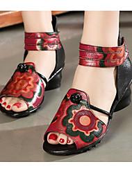 preiswerte -Damen Schuhe Leder Frühling Sommer Komfort Sandalen Blockabsatz für Schwarz Grau