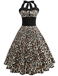 cheap -Women's Work Holiday Street chic Cotton Swing Dress - Leopard High Waist Halter