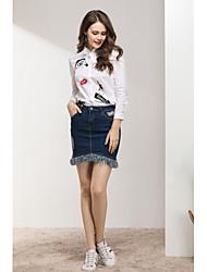 baratos -Mulheres Camisa Social - Diário / Feriado Estampado, Sólido Algodão / Poliéster / Fibra Sintética Colarinho Chinês