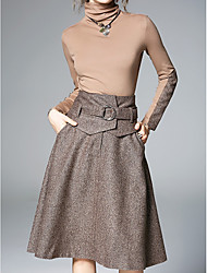 abordables -Mujer Tallas Grandes Algodón Largo Conjunto - Color sólido, De Gran Tamaño Falda
