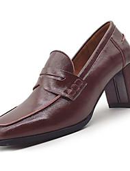 Недорогие -Жен. Обувь Полиуретан Весна Удобная обувь Мокасины и Свитер На низком каблуке Квадратный носок Черный / Вино