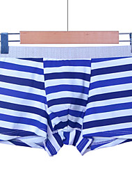 cheap -Men's Micro-elastic Solid Striped Boxers Underwear Opaque,Cotton One-piece Suit Royal Blue Light gray Light Blue Blushing Pink Red
