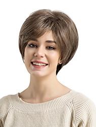 Недорогие -Парики из искусственных волос Прямой Стрижка под мальчика / С чёлкой Искусственные волосы Боковая часть Коричневый Парик Жен. Без шапочки-основы