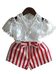 preiswerte -Mädchen Kleidungs Set Gestreift Baumwolle Sommer Halbe Ärmel Rote