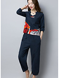 cheap -Women's Daily Going out Casual Spring Fall Set Pant Suits,Print V-neck Long Sleeve Linen