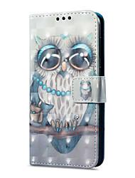 Недорогие -Кейс для Назначение Huawei P9 lite mini Бумажник для карт Кошелек со стендом Флип Магнитный С узором Чехол Сова Твердый Кожа PU для P9
