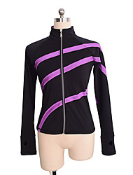 cheap -Figure Skating Fleece Jacket Women's / Girls' Ice Skating Top Violet Spandex Stretchy Performance / Practise Skating Wear Solid Colored