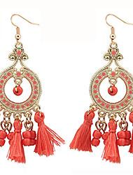 baratos -Mulheres Opala Brincos Compridos - Resina Boêmio, Fashion, Boho Vermelho / Rosa claro / Azul Claro Para Para Noite / Bagels