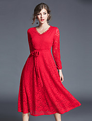 cheap -MAXLINDY Women's Party Going out Vintage Sheath Lace DressSolid V Neck Midi Long Sleeve Polyester Winter Fall High Waist Inelastic Thick
