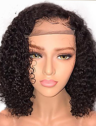 cheap -Human Hair Lace Front Wig / Glueless Lace Front Wig Brazilian Hair Curly Bob Haircut / With Baby Hair 130% Density Natural Hairline / African American Wig / 100% Virgin Short Human Hair Lace Wig