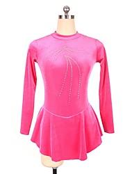 abordables -Vestido de patinaje artístico Mujer / Chica Patinaje Sobre Hielo Vestidos Morado / Melocotón Licra Ropa de Patinaje Lentejuela Manga Larga