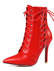 cheap -Women's Shoes Leatherette Spring / Fall Ankle Strap / Fashion Boots Boots Stiletto Heel Pointed Toe Booties / Ankle Boots White / Black / Red / Party & Evening