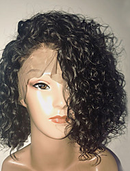 cheap -Human Hair Full Lace Wig Brazilian Hair Curly Water Wave Short Bob Bob Haircut 130% Density With Baby Hair Glueless Side Part Natural