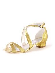 preiswerte -Damen Schuhe Paillette Frühling Sommer Pumps Hochzeit Schuhe Block Ferse Peep Toe Schnalle für Hochzeit Party & Festivität Gold