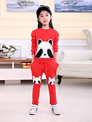 abordables -Ensemble de Vêtements Fille Quotidien Ecole Imprimé Coton Eté Automne Manches longues Décontracté Noir Rouge