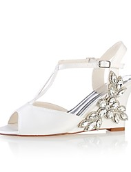 cheap -Women's Shoes Stretch Satin Summer Basic Pump Wedding Shoes Wedge Heel Peep Toe Crystal Ivory / Party & Evening