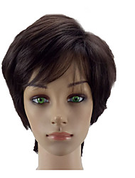 Недорогие -Парики из искусственных волос Прямой Стрижка под мальчика Искусственные волосы Коричневый Парик Короткие Без шапочки-основы