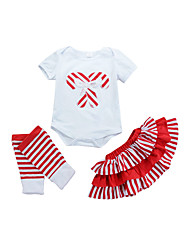 cheap -Girls' Daily Striped Print Clothing Set, Cotton Summer All Seasons Short Sleeves Cute Active Red