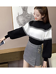 cheap -Women's Long Sleeves Pullover - Striped Color Block