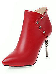 cheap -Women's Shoes Leatherette Fall / Winter Fashion Boots / Bootie Boots Stiletto Heel Booties / Ankle Boots Rivet Black / Brown / Red