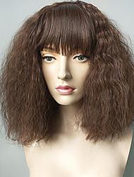 Недорогие -Парики из искусственных волос Kinky Curly Стрижка каскад / С чёлкой Искусственные волосы Природные волосы Коричневый Парик Жен. Короткие Без шапочки-основы