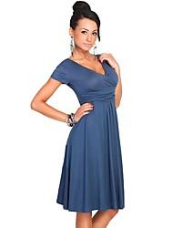 cheap -Women's Work A Line Swing Dress - Solid High Waist V Neck