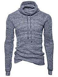 economico -Per uomo Manica lunga Pullover Tinta unita A collo alto