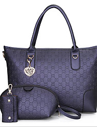 baratos -Mulheres Bolsas PU Conjuntos de saco 3 Pcs Purse Set Ziper Rosa / Cinzento Escuro / Azul Escuro