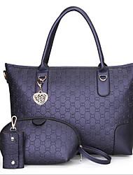 cheap -Women's Bags PU Bag Set 3 Pcs Purse Set Zipper for Casual Outdoor Winter Fall Black Blushing Pink Dark Gray Dark Blue