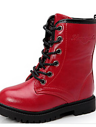 cheap -Girls' Shoes Leather Spring Fall Snow Boots Comfort Boots Mid-Calf Boots for Casual Black Red Wine