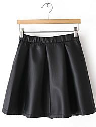 preiswerte -Damen Retro Alltag Mini Röcke A-Linie,Baumwolle Solide Herbst