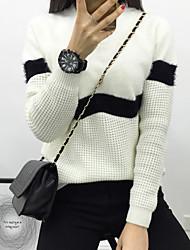 preiswerte -Damen Langarm Pullover-Solide Gestreift