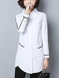 cheap -Women's Cotton Shirt - Letter, Patchwork Shirt Collar
