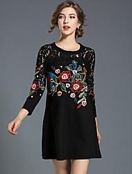 cheap -Women's A Line Sheath Lace Dress - Color Block, Lace Cut Out