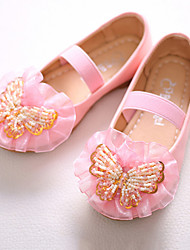cheap -Girls' Shoes PU Spring Fall Novelty Flower Girl Shoes Flats Bowknot Beading Gore for Party & Evening Dress Pink White
