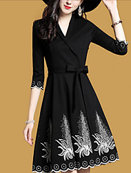 cheap -Women's Daily Casual A Line Swing Dress,Solid V Neck Above Knee Long Sleeve Silk Fall High Waist Micro-elastic Thick