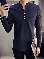 cheap -Men's Daily Ordinary Spring Shirt, Solid Stand Long Sleeves Polyester