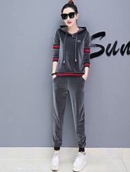 cheap -Women's Sports Casual Fall Hoodie Pant Suits,Print Hooded Long Sleeve Polyester