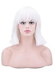 abordables -Perruque Synthétique Droit Coupe Carré Perruque afro-américaine Blanc Femme Sans bonnet Perruque de fête Perruque Naturelle Perruque de